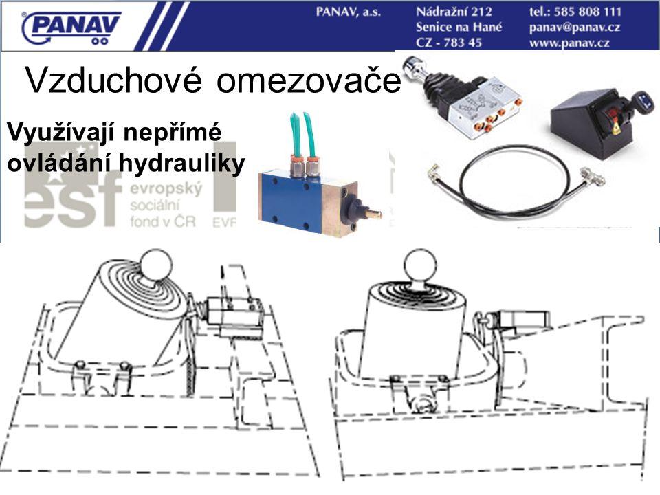 Vzduchové omezovače Využívají nepřímé ovládání hydrauliky