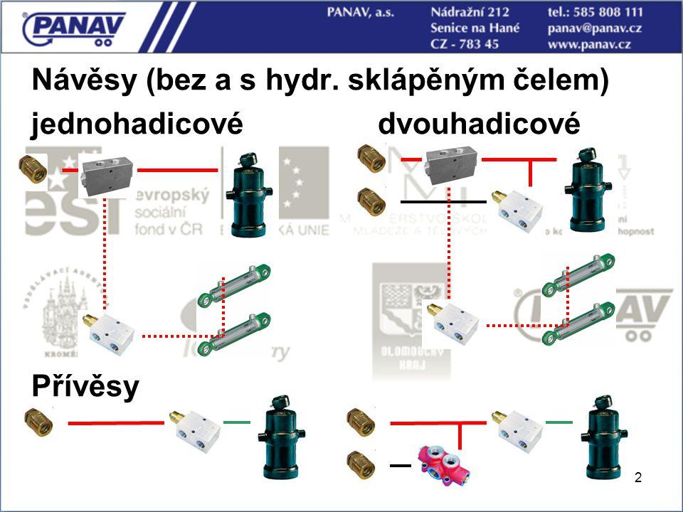 Návěsy (bez a s hydr. sklápěným čelem) jednohadicové dvouhadicové