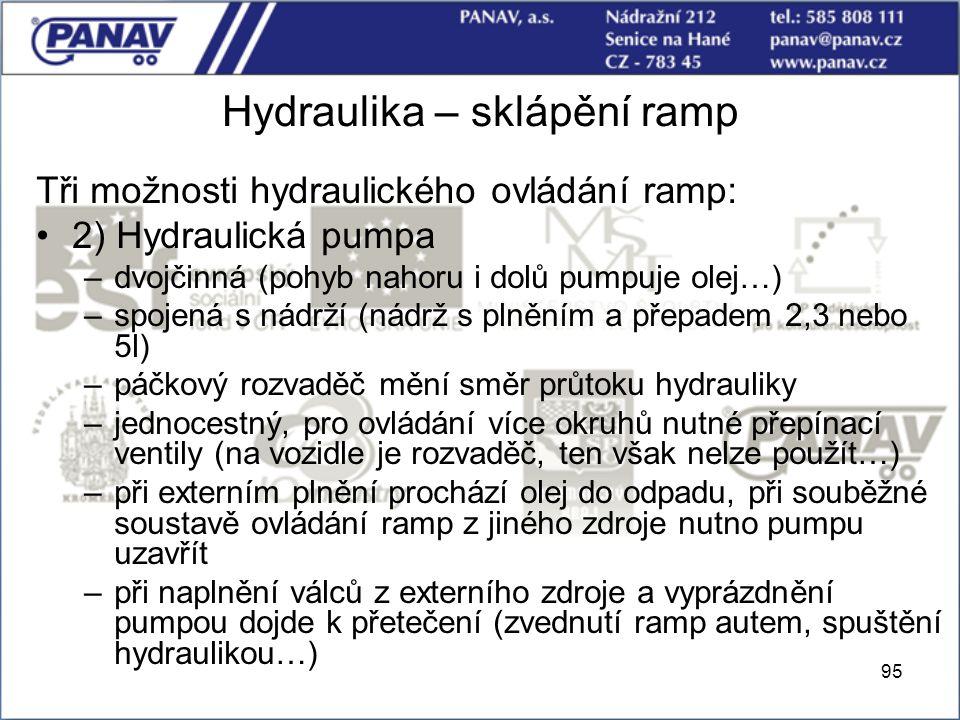 Hydraulika – sklápění ramp