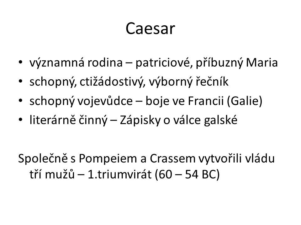 Caesar významná rodina – patriciové, příbuzný Maria