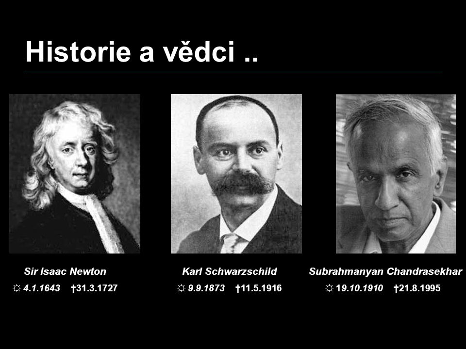 Historie a vědci .. Sir Isaac Newton Karl Schwarzschild