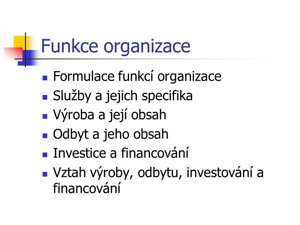 Funkce organizace Formulace funkcí organizace