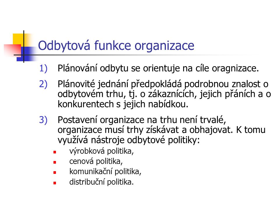 Odbytová funkce organizace