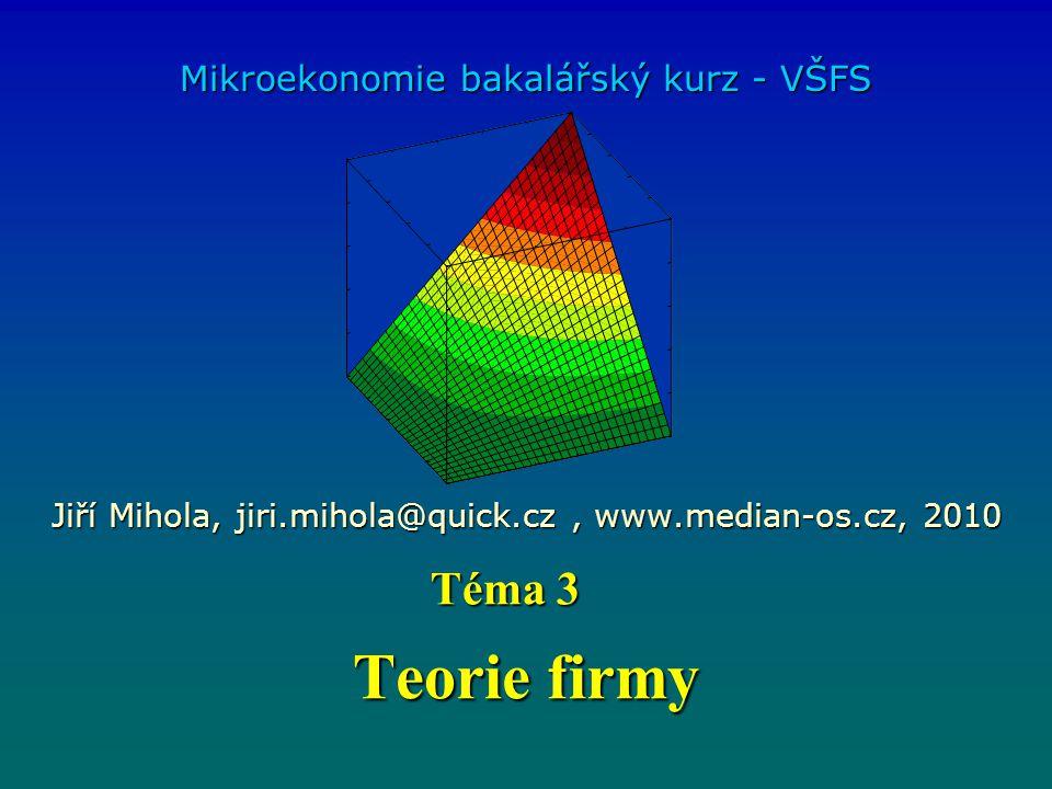 Teorie firmy Téma 3 Mikroekonomie bakalářský kurz - VŠFS