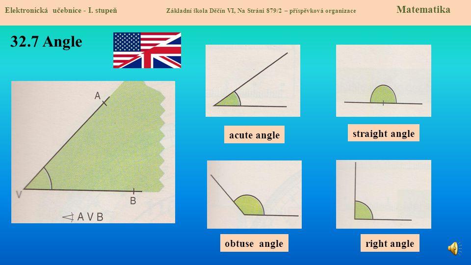 32.7 Angle acute angle straight angle obtuse angle right angle