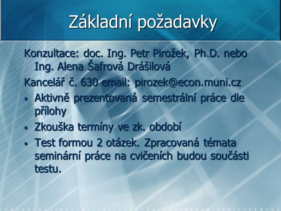 Základní požadavky Konzultace: doc. Ing. Petr Pirožek, Ph.D. nebo Ing. Alena Šafrová Drášilová. Kancelář č. 630 email: pirozek@econ.muni.cz.