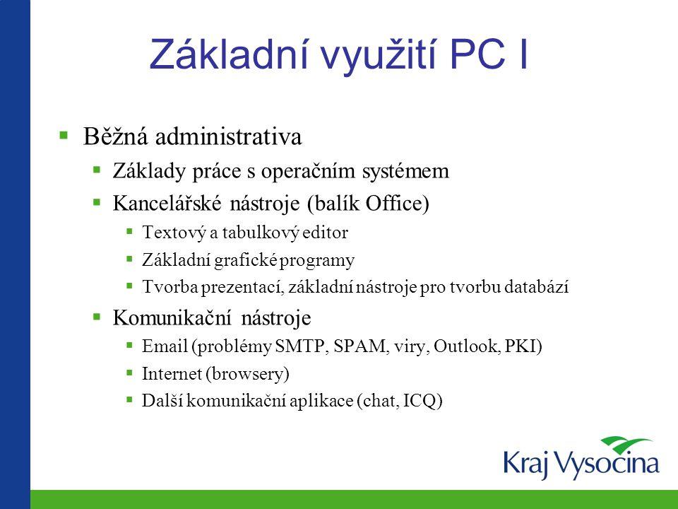 Základní využití PC I Běžná administrativa