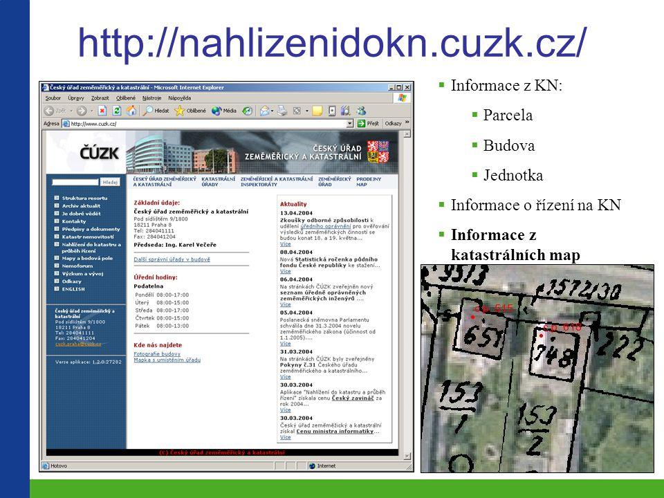 http://nahlizenidokn.cuzk.cz/ Informace z KN: Parcela Budova Jednotka