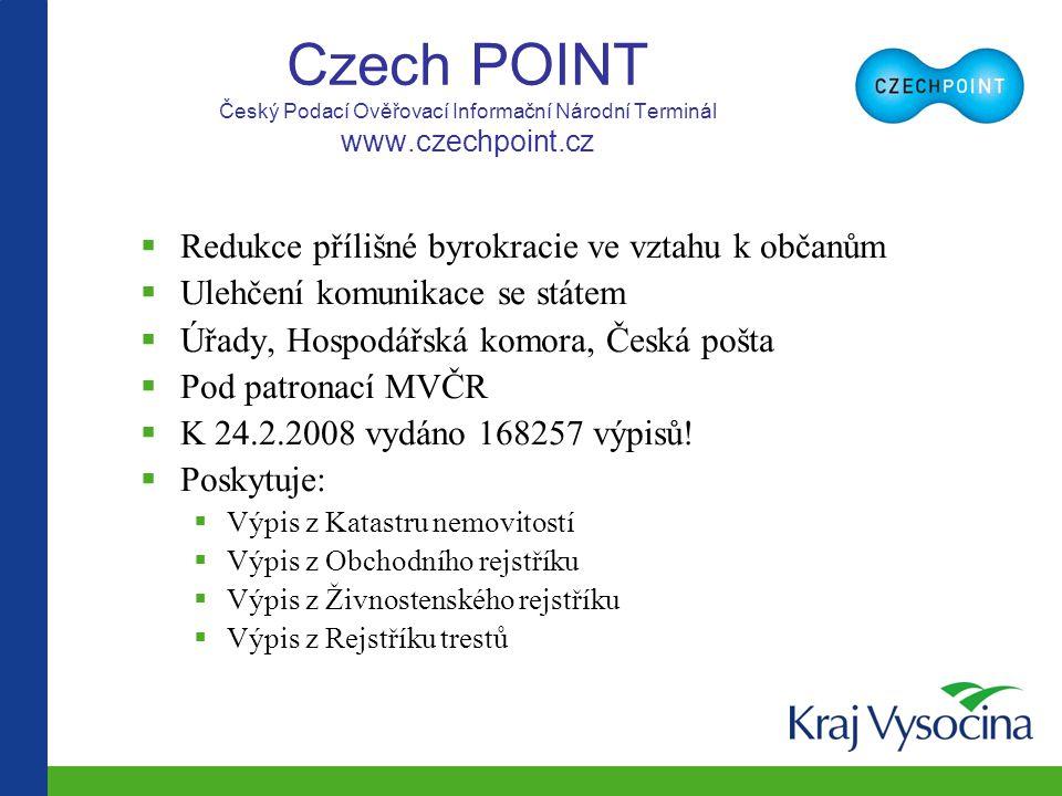 Czech POINT Český Podací Ověřovací Informační Národní Terminál www