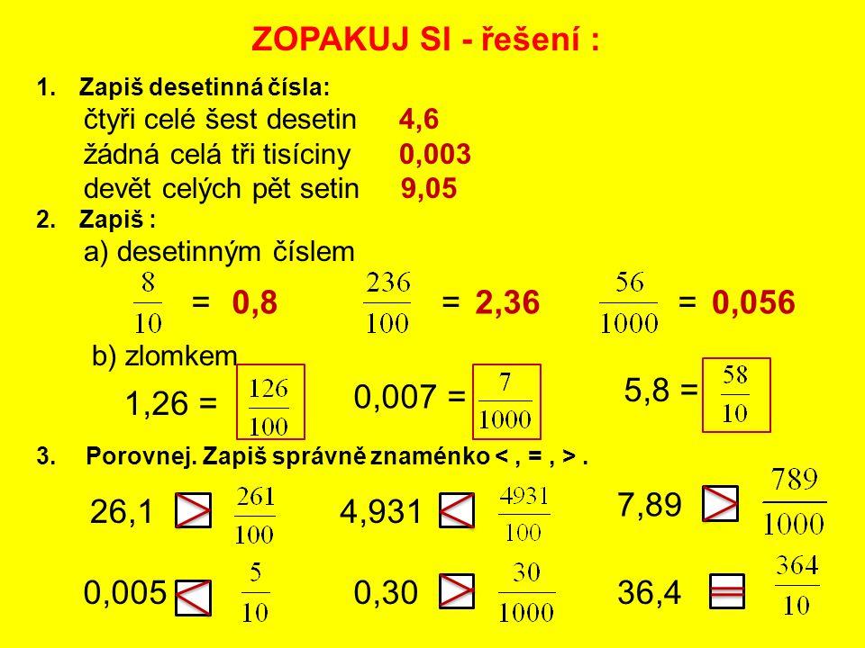 ZOPAKUJ SI - řešení : = 0,8 = 2,36 = 0,056 5,8 = 0,007 = 1,26 = 7,89