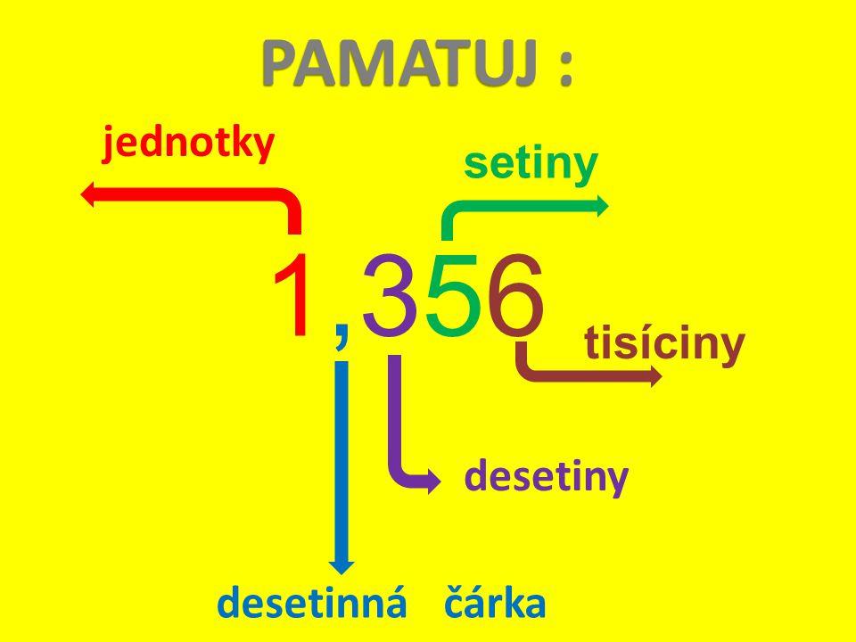 PAMATUJ : jednotky setiny 1,356 tisíciny desetiny desetinná čárka