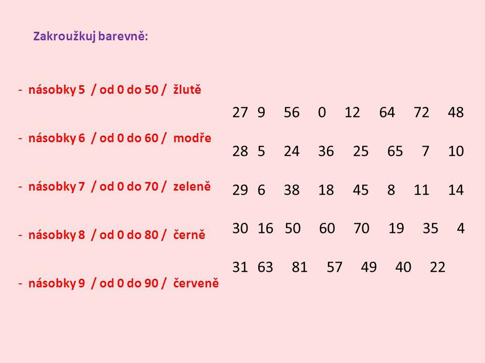 Zakroužkuj barevně: násobky 5 / od 0 do 50 / žlutě. násobky 6 / od 0 do 60 / modře. násobky 7 / od 0 do 70 / zeleně.