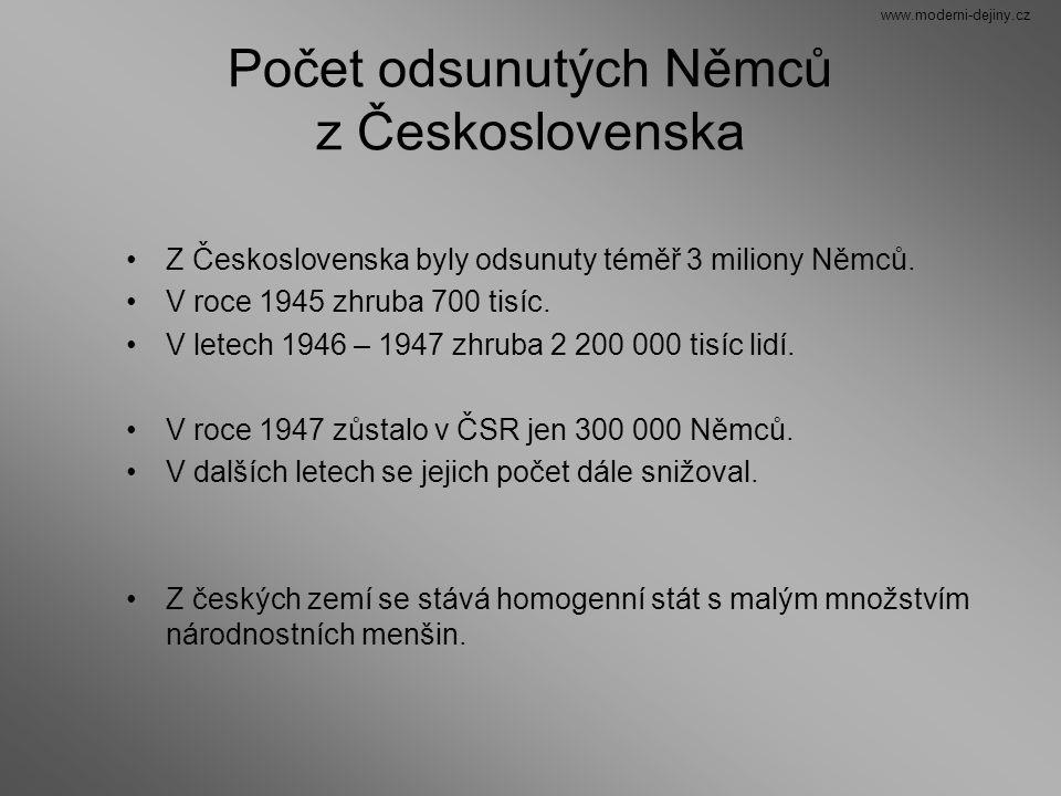 Počet odsunutých Němců z Československa
