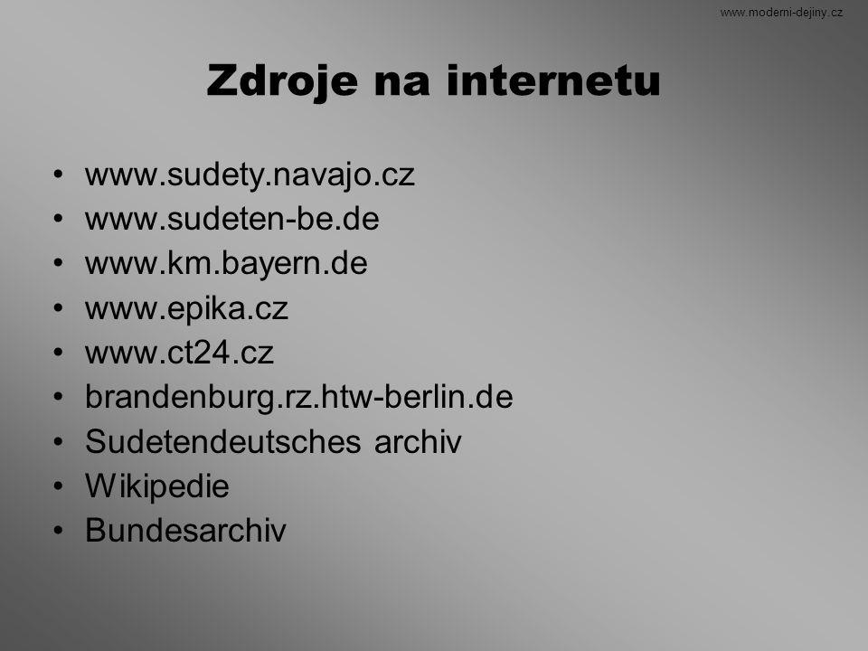 Zdroje na internetu www.sudety.navajo.cz www.sudeten-be.de