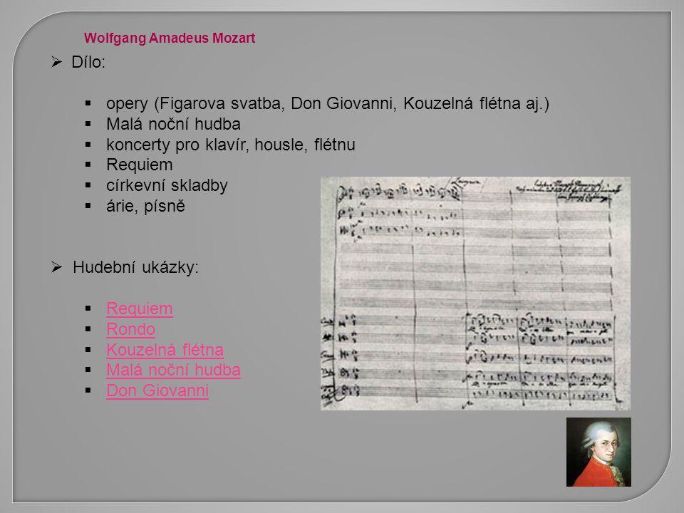 opery (Figarova svatba, Don Giovanni, Kouzelná flétna aj.)