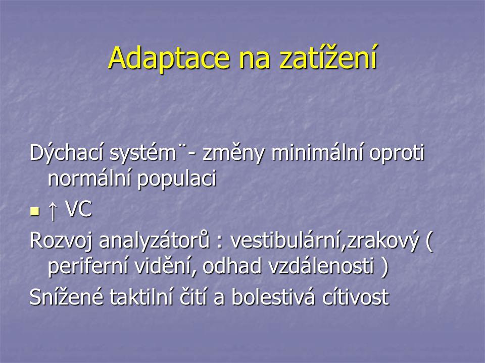 Adaptace na zatížení Dýchací systém¨- změny minimální oproti normální populaci. ↑ VC.