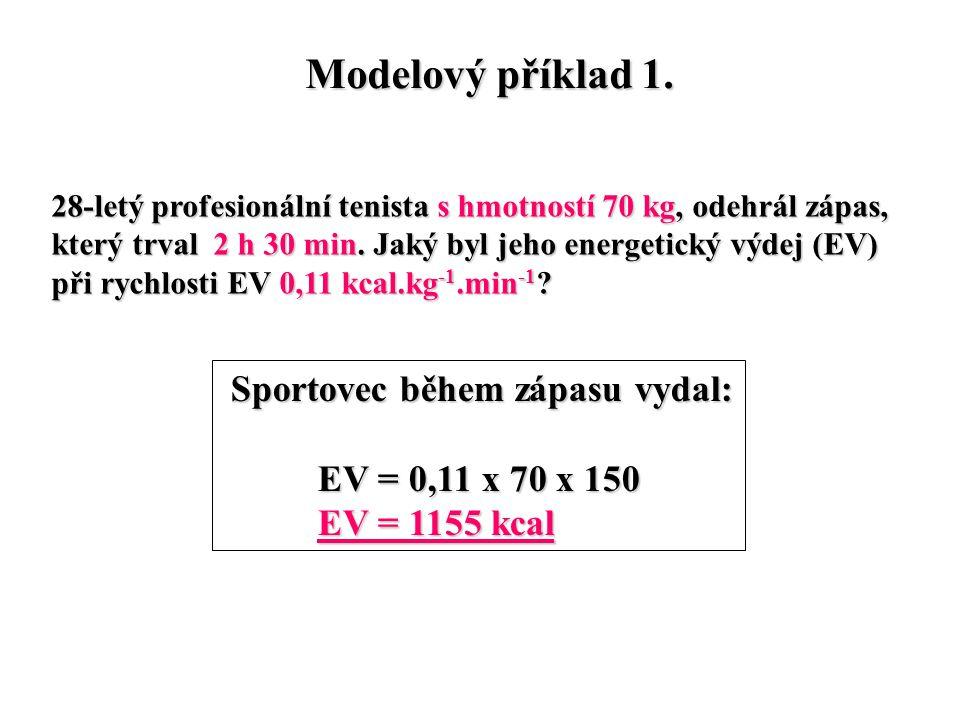 Modelový příklad 1. Sportovec během zápasu vydal: EV = 0,11 x 70 x 150