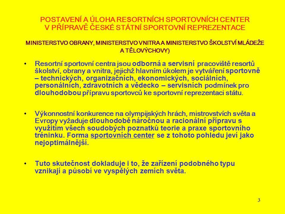 POSTAVENÍ A ÚLOHA RESORTNÍCH SPORTOVNÍCH CENTER V PŘÍPRAVĚ ČESKÉ STÁTNÍ SPORTOVNÍ REPREZENTACE MINISTERSTVO OBRANY, MINISTERSTVO VNITRA A MINISTERSTVO ŠKOLSTVÍ MLÁDEŽE A TĚLOVÝCHOVY)