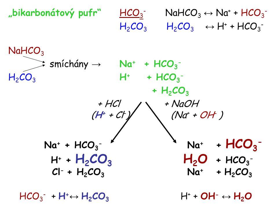 """""""bikarbonátový pufr HCO3- NaHCO3 ↔ Na+ + HCO3-"""