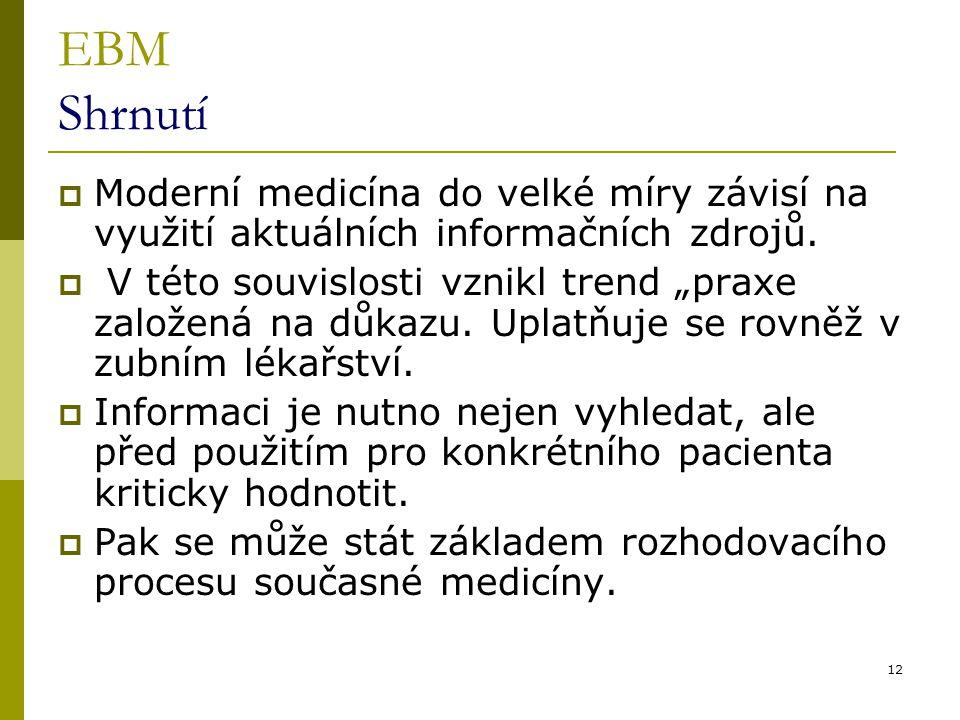 EBM Shrnutí Moderní medicína do velké míry závisí na využití aktuálních informačních zdrojů.