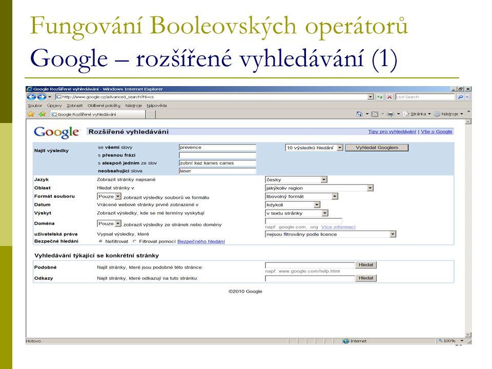 Fungování Booleovských operátorů Google – rozšířené vyhledávání (1)