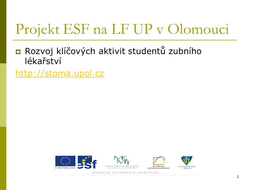 Projekt ESF na LF UP v Olomouci