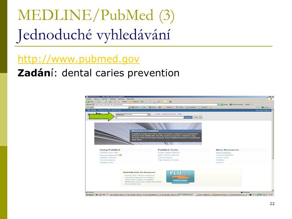 MEDLINE/PubMed (3) Jednoduché vyhledávání