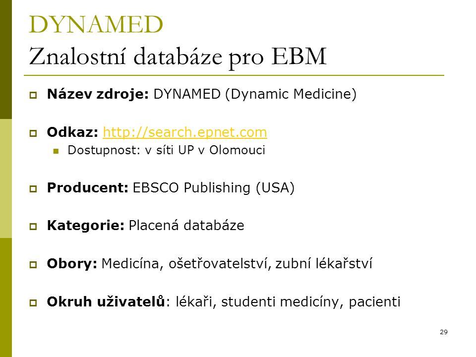 DYNAMED Znalostní databáze pro EBM