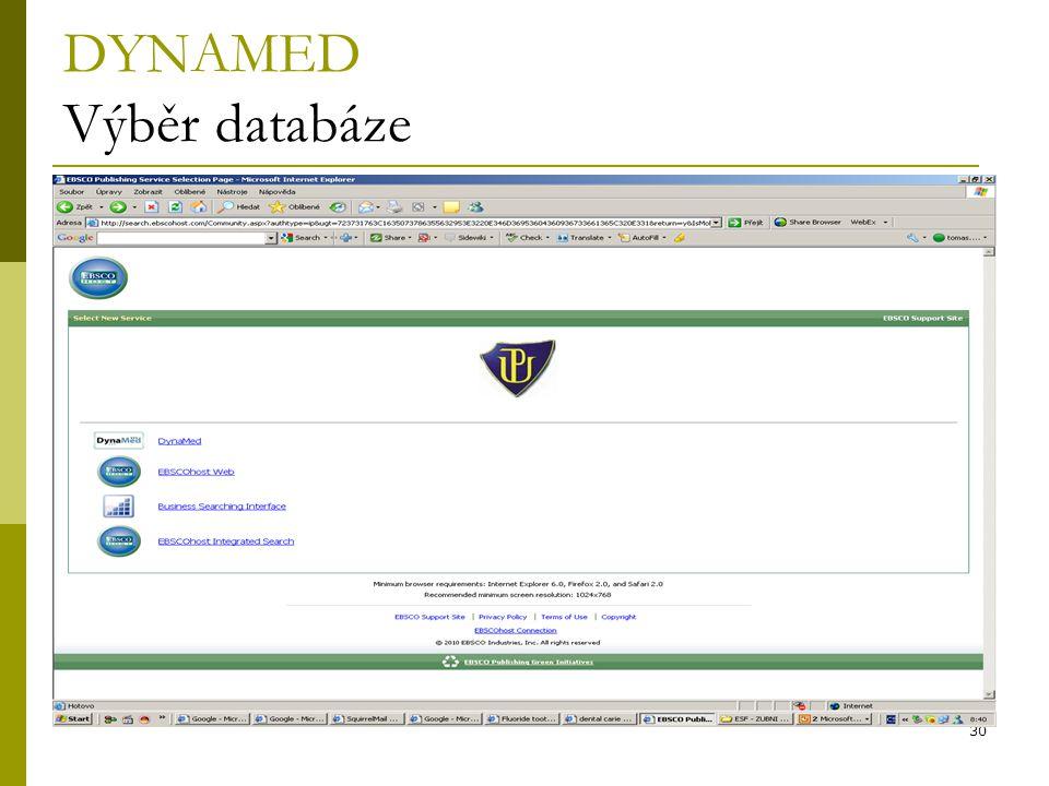 DYNAMED Výběr databáze