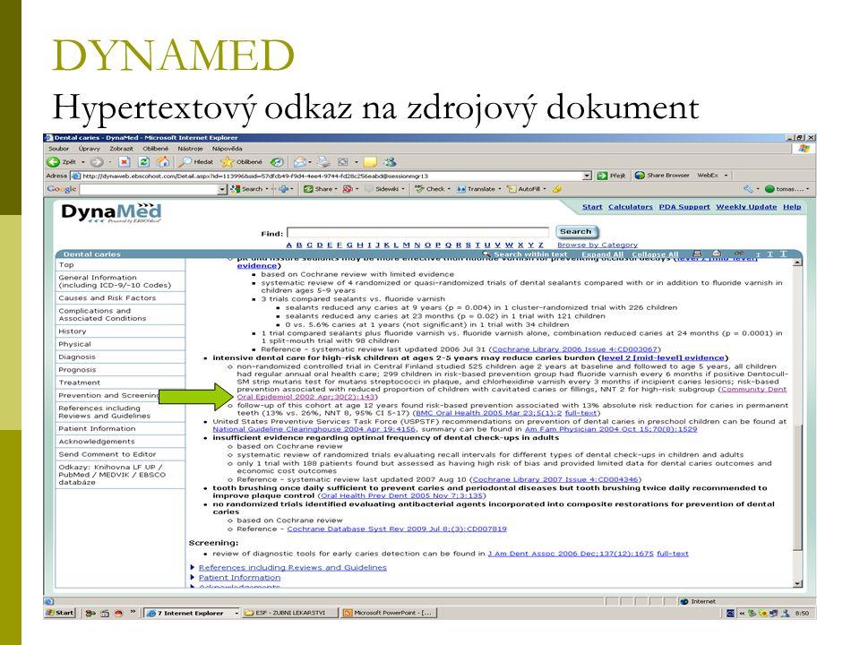 DYNAMED Hypertextový odkaz na zdrojový dokument