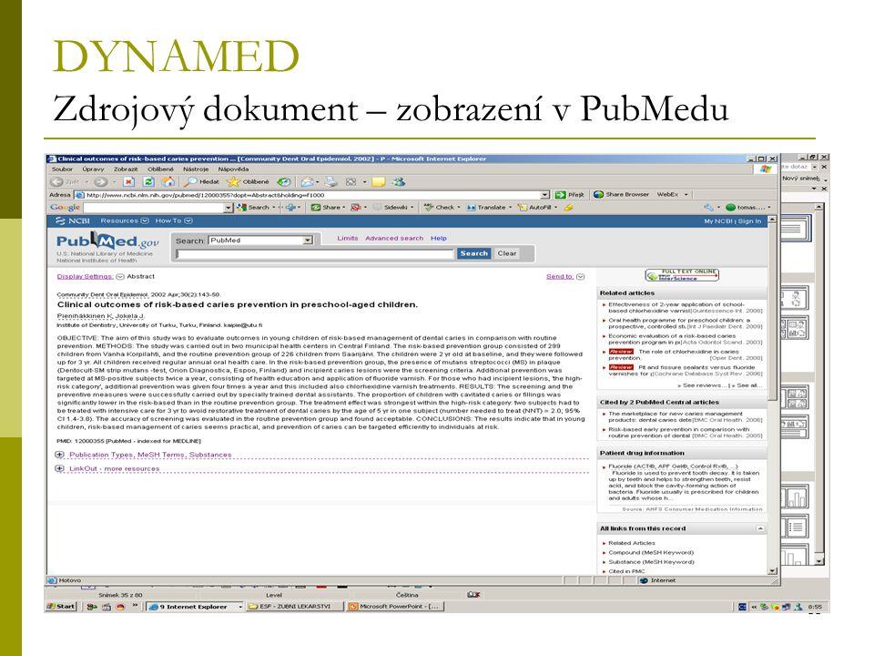DYNAMED Zdrojový dokument – zobrazení v PubMedu
