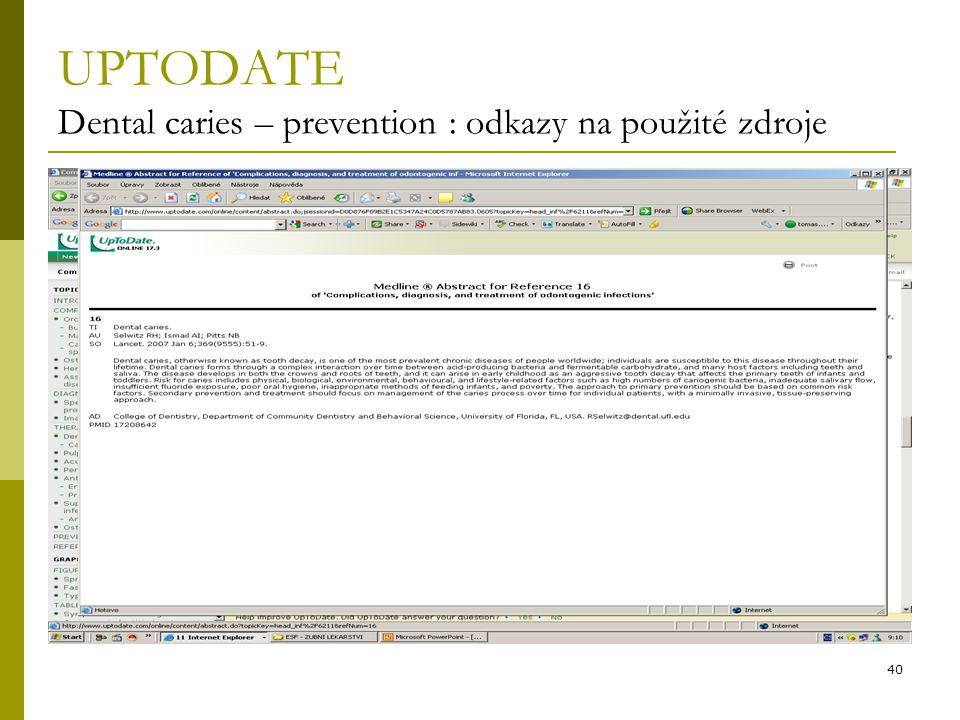 UPTODATE Dental caries – prevention : odkazy na použité zdroje