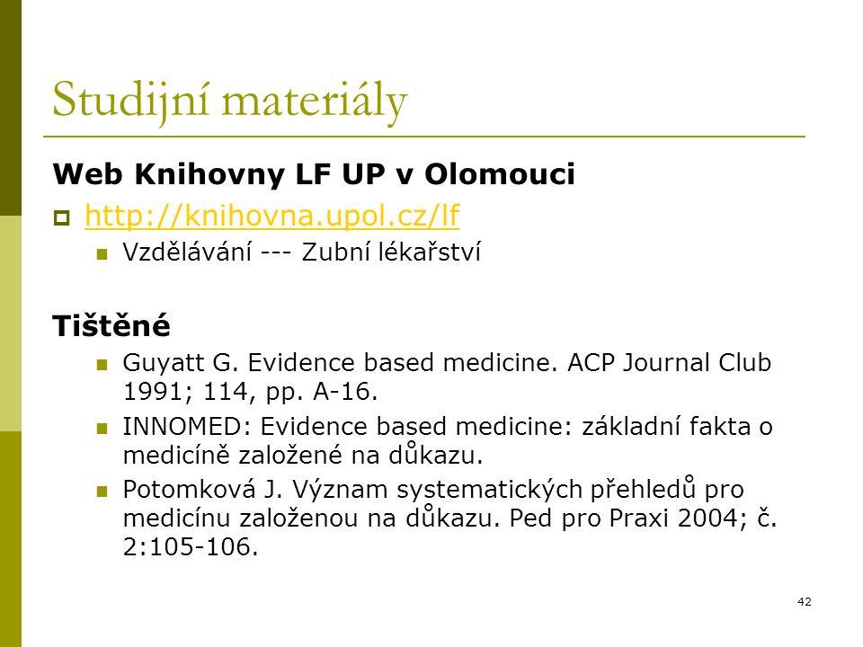Studijní materiály Web Knihovny LF UP v Olomouci