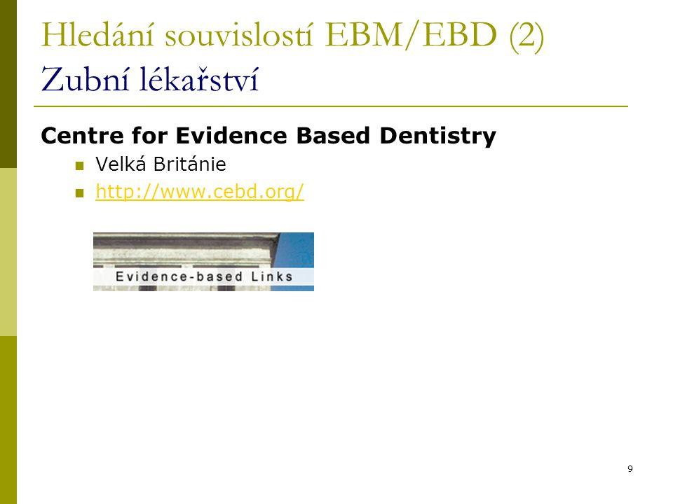 Hledání souvislostí EBM/EBD (2) Zubní lékařství