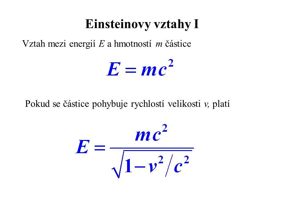 Einsteinovy vztahy I Vztah mezi energií E a hmotností m částice