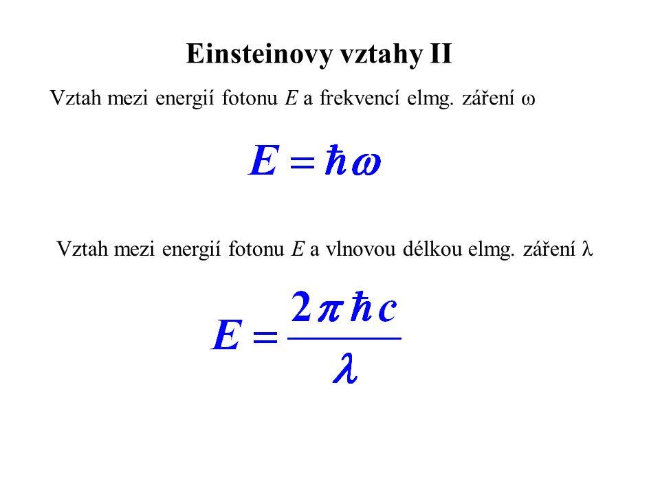 Einsteinovy vztahy II Vztah mezi energií fotonu E a frekvencí elmg.