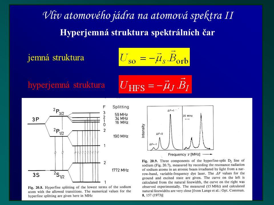 Vliv atomového jádra na atomová spektra II