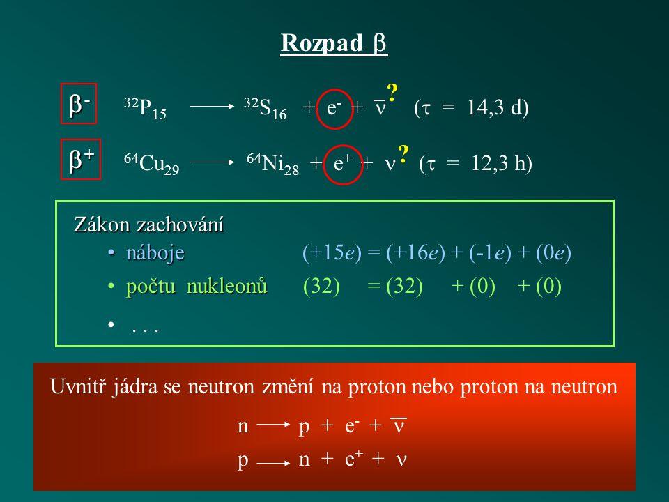 Rozpad  - + 32P15 32S16 + e- +  ( = 14,3 d)
