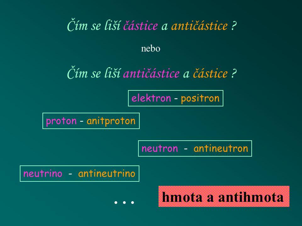 . . . Čím se liší částice a antičástice