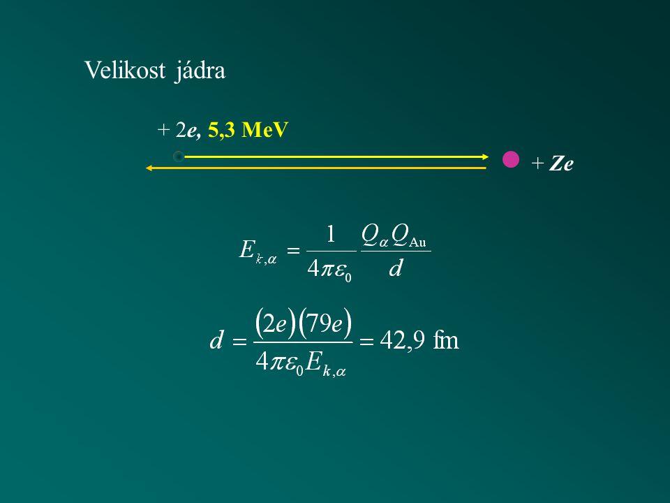 Velikost jádra + 2e, 5,3 MeV + Ze