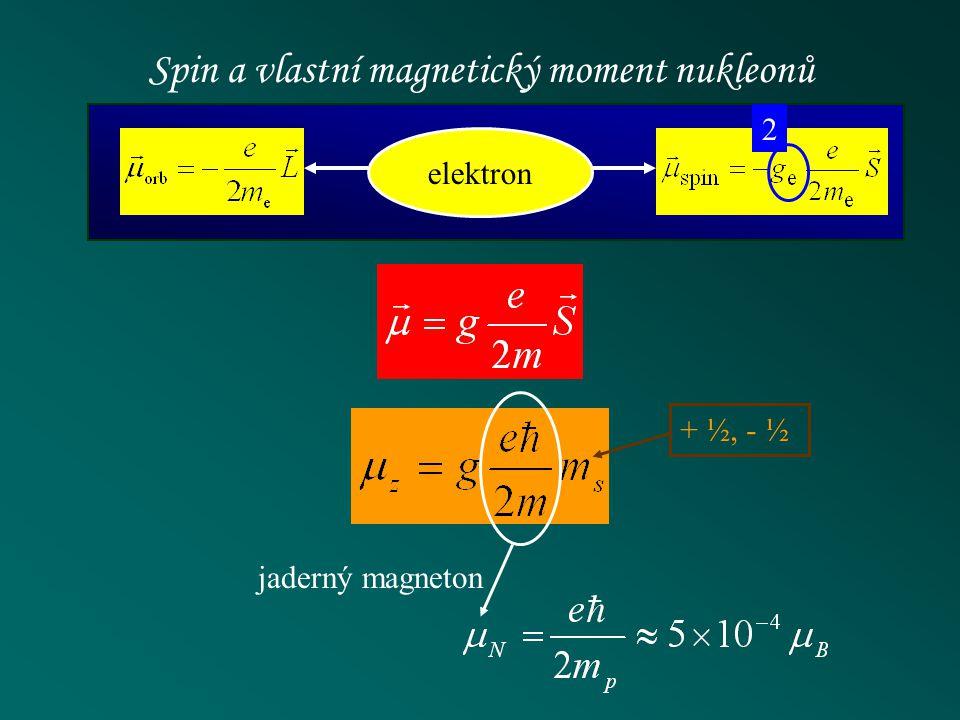 Spin a vlastní magnetický moment nukleonů