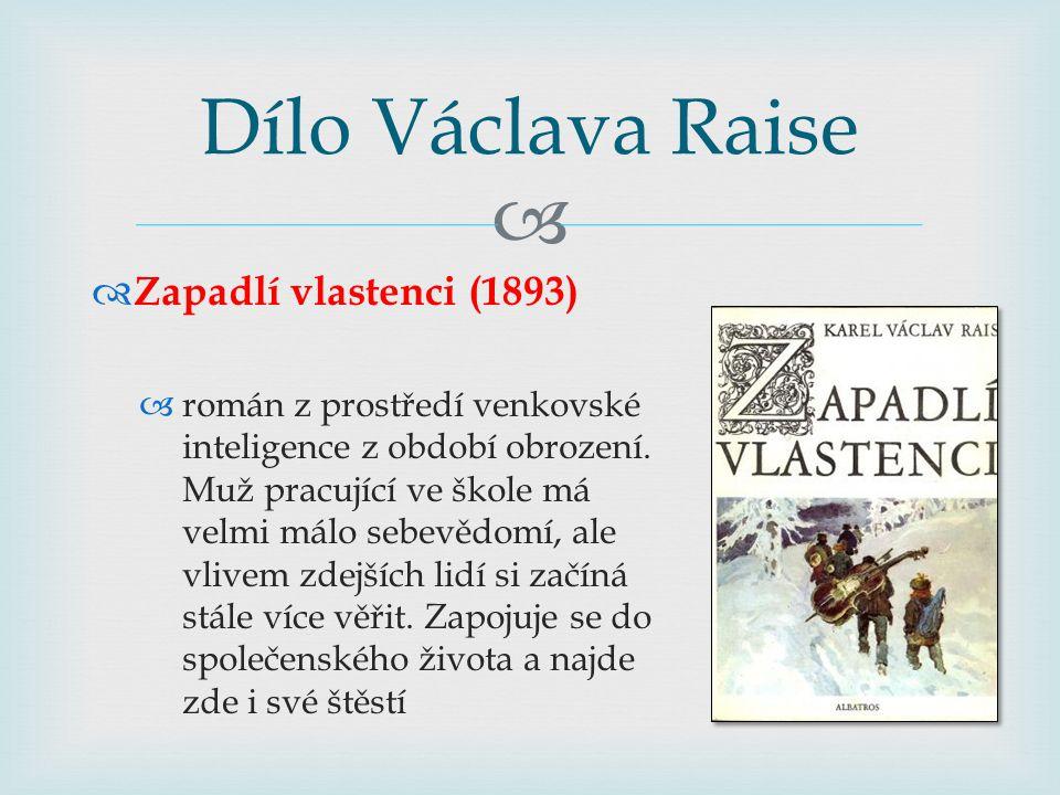 Dílo Václava Raise Zapadlí vlastenci (1893)