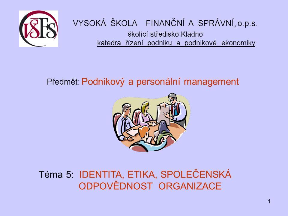 Předmět: Podnikový a personální management