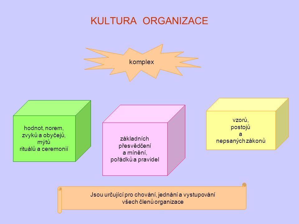 KULTURA ORGANIZACE komplex vzorů, postojů hodnot, norem, a