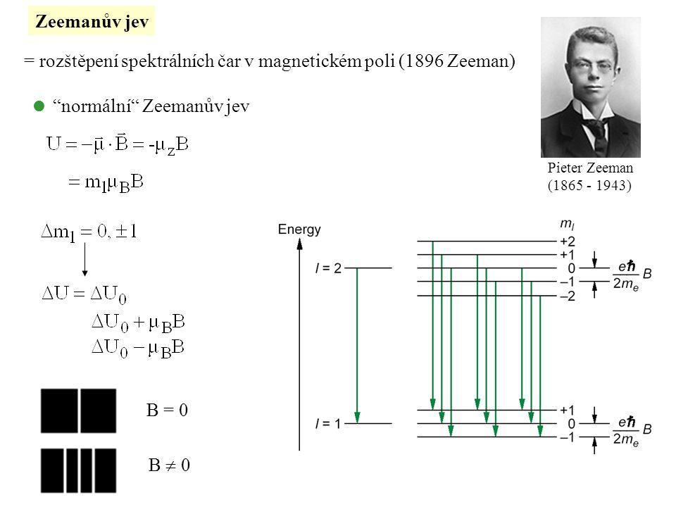 = rozštěpení spektrálních čar v magnetickém poli (1896 Zeeman)