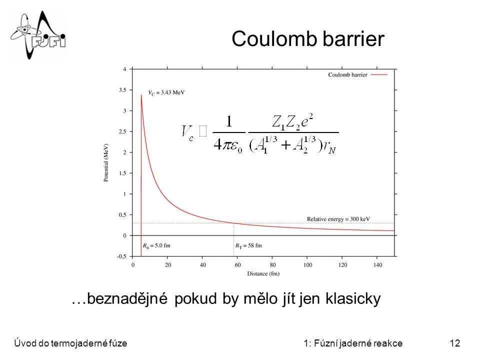 Coulomb barrier …beznadějné pokud by mělo jít jen klasicky