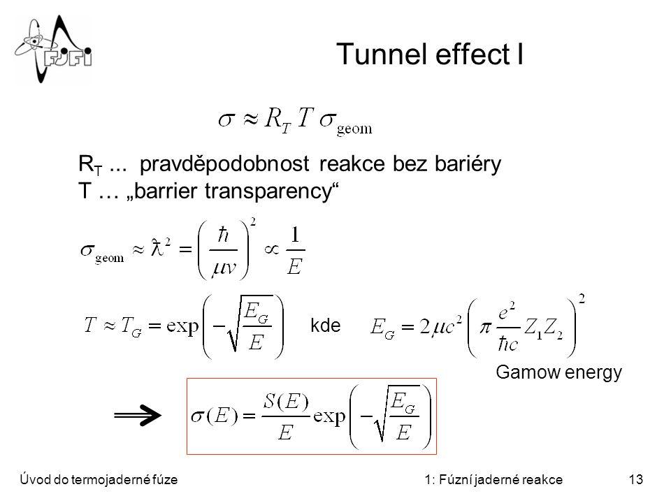Tunnel effect I RT ... pravděpodobnost reakce bez bariéry