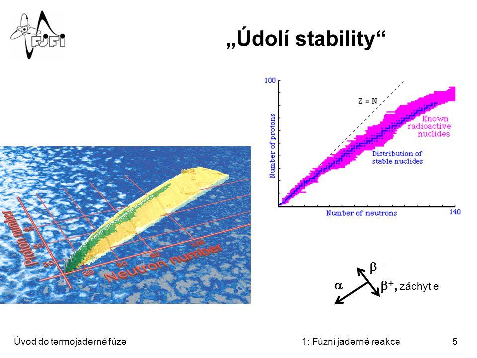 """""""Údolí stability b- a b+, záchyt e Úvod do termojaderné fúze"""