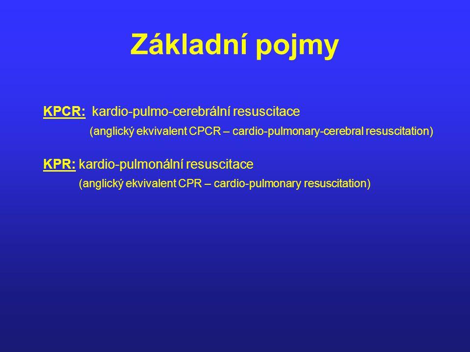 Základní pojmy KPCR: kardio-pulmo-cerebrální resuscitace