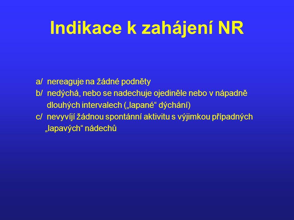 Indikace k zahájení NR a/ nereaguje na žádné podněty